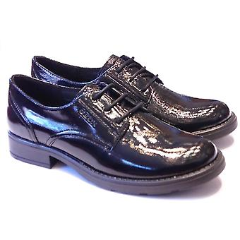 Geox Geox Sofia Black Patent Leather Lace Up School Shoes