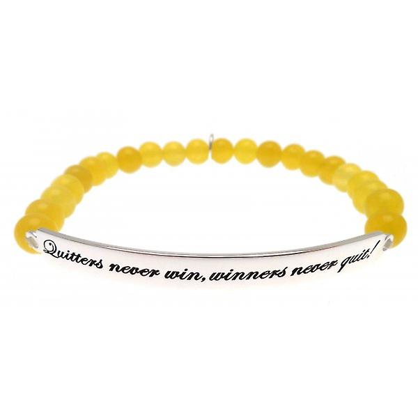 W.A.T 925 Sterling Silver 'Quitters Never Win, Winners Never Quit' Yellow Jade Quote Bracelet