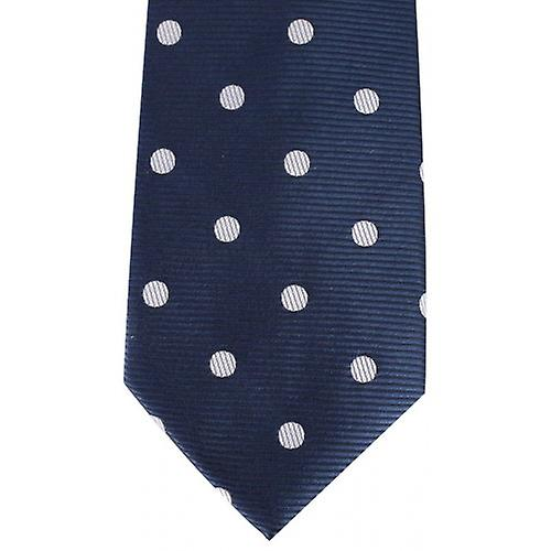 David Van Hagen Ribbed Polka Dot Tie - Navy/White