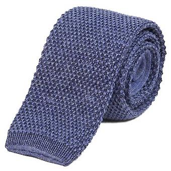40 Colori Double Threaded Wool and Cotton Knitted Tie - Baby Blue/Blue