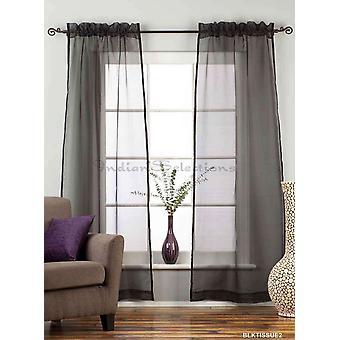 Black - Rod Pocket tejido pura cortina Panel cortina - varios tamaños