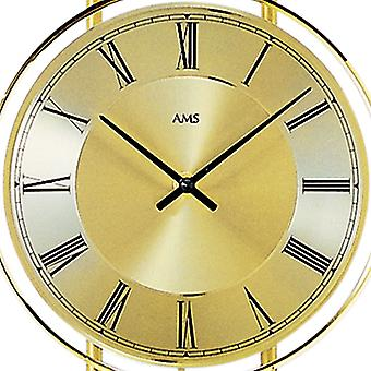 AMS wall clock 7083 quartz with pendulum brass painted metal enclosure