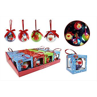 Light Up Baubles Christmas Tree Decorations Ornaments Santa Reindeer - Pack of 4