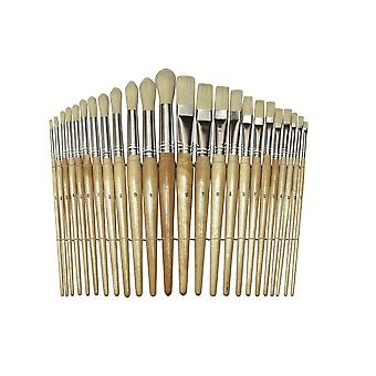 24 Assorted Wooden Handled Paintbrushes for Arts and Crafts | Kids Paint Brushes
