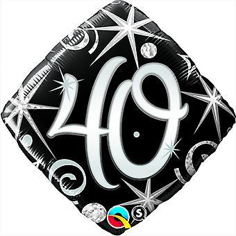 Qualatex 18 Inch Sparkles & Swirls Diamond Shaped Age 40 Foil Balloon