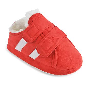 Kids Toddlers SlumberzzZ Trainer Style Double Touch Fasten Microsuede Slippers