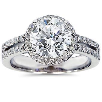 3,50 CT Halo de Diamond Engagement Ring 14K White Gold