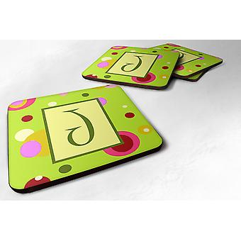 Carolines Treasures  CJ1010-JFC Set of 4 Monogram - Green Foam Coasters Initial