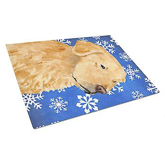 Golden Retriever Winter Snowflakes Holiday Glass Cutting Board Large