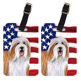 Para USA American Flag tagów bagażu Bearded Collie