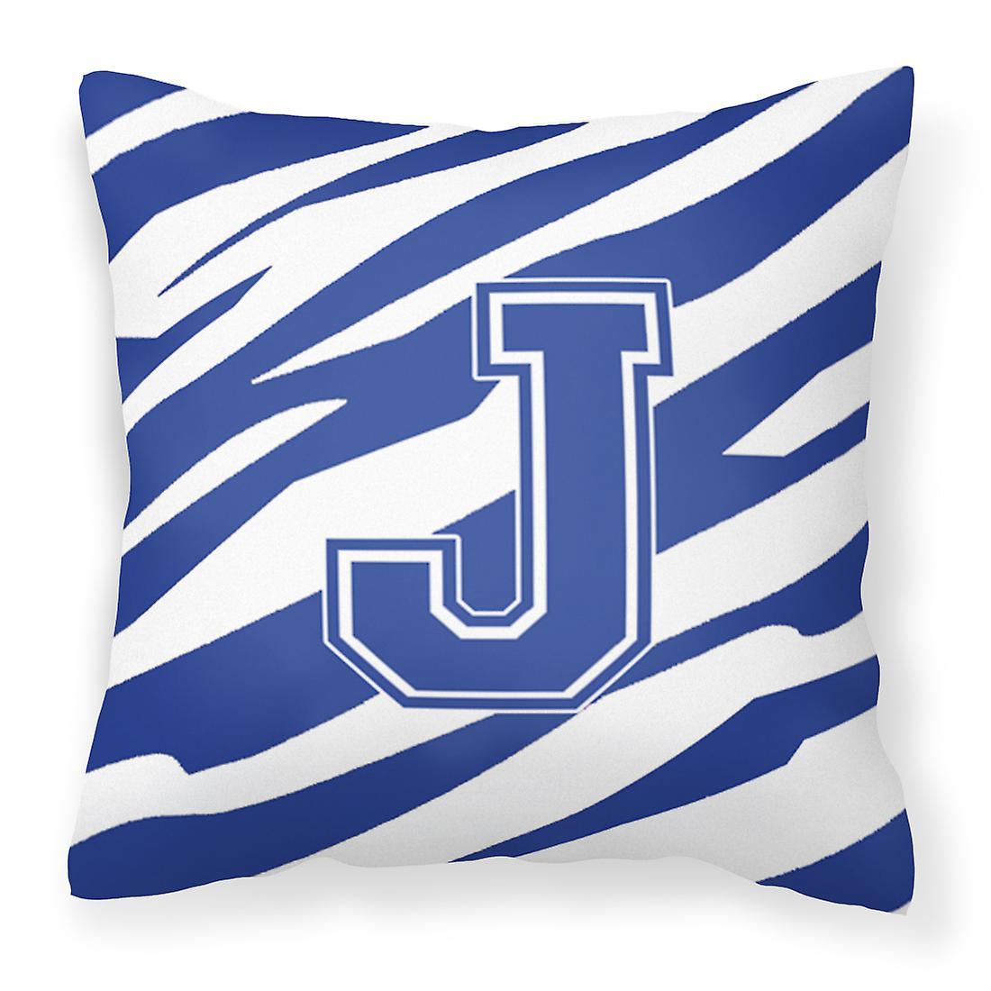 Et Décoratif Monogramme Bleu De J Blanc Tiger Tissu Toile Oreiller Stripe Initiale CBodxWer