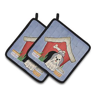 Dog House kolekcja Shih Tzu Silver białe pary łapki