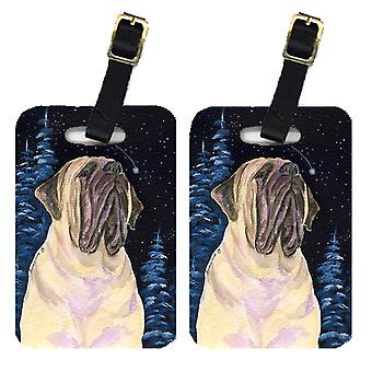 Carolines Treasures  SS8448BT Starry Night Mastiff Luggage Tags Pair of 2