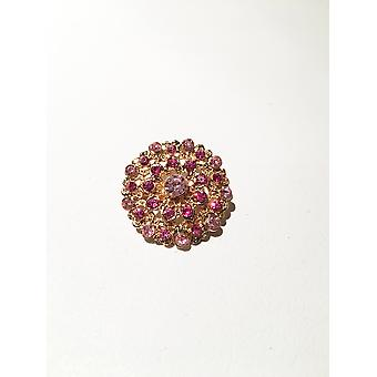 Gold and Blush Pink Diamonte Brooch