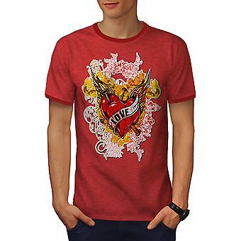 Liebe Rose Herz Männer Heather rot / RedRinger-t-shirt   Wellcoda