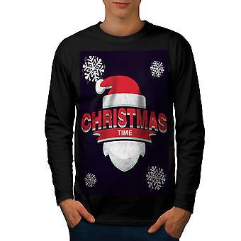 Weihnachtsmütze Männer BlackLong Sleeve T-shirt Zeit | Wellcoda