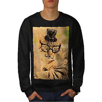 Hipster Kitty Cute Cat Men BlackSweatshirt   Wellcoda