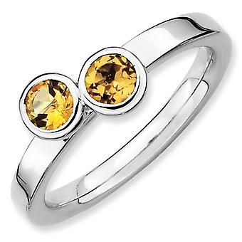Sterling Silver Bezel Polished Rhodium-plated Stackable Expressions Db Round Citrine Ring - Ring Size: 5 to 10