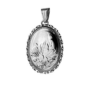 Silver 29x22mm engraved flowers design twisted wire edge oval Locket
