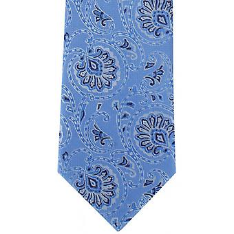 Michelsons of London Soft Paisley Polyester Tie - Light Blue