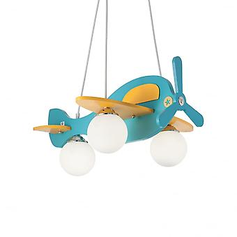 Ideal Lux Avion Childrens Bedroom Novelty Airplane Light, Pale Blue