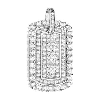 925 iced out Zilveren hanger - MINI DOG TAG