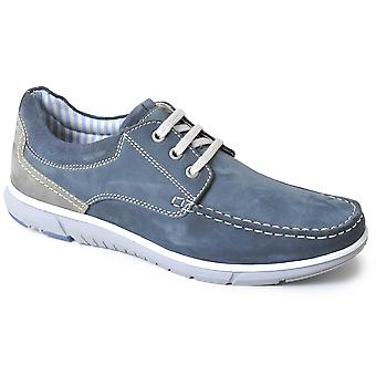 Mens Leather Nubuck Smart Leisure Lace Up Twin Gusset Casual Boat Shoes