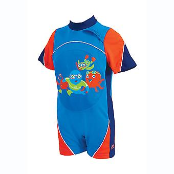 Zoggs Kids Swimming Costume Blue/Red for 1-6 Years Chlorine Resistant