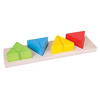 Bigjigs Toys Educational Wooden Triangle Fraction Board Math Numeracy