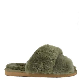 Shepherd of Sweden Lovisa Olive Sheepskin Slipper