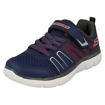 Boys Skechers Casual Trainers High Torque 97456 - Navy/Red Leather - UK Size 9.5 - EU Size 27 - US Size 10.5
