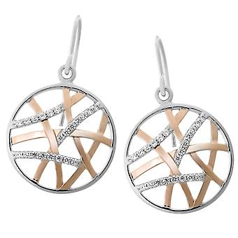 Orphelia Silver 925 Earring Rose Round + Lines Zirc  ZO-7098/1