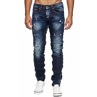 Mäns stentvättade Jeans byxor förstörde Crinkle jeans