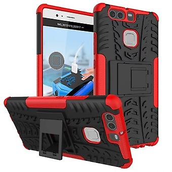 NEX style hybrid case 2 piece outdoor red for Huawei P9 bag case cover protection