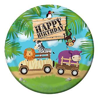 Jungle rally plate 23Ø 8 piece children birthday theme party party birthday