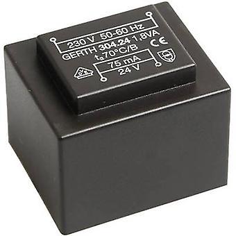 PCB mount transformer 1 x 230 V 2 x 18 V AC 1.80 VA 50 mA