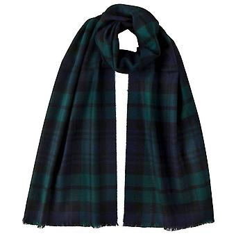 Johnstons of Elgin Black Watch Extra Fine Tartan Scarf - Navy/Black/Green