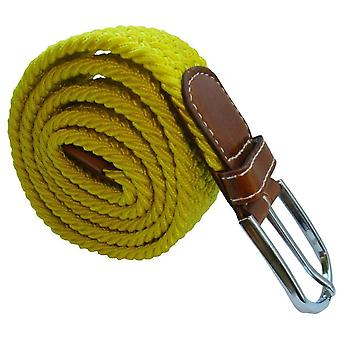 Bassin and Brown Plain Stretch Woven Belt - Yellow