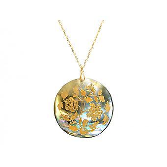 Gemshine - Damen - Halskette - Anhänger - Medaillon - Perlmutt - Vergoldet - Grau - 5 cm