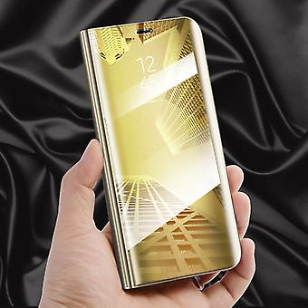 For Apple iPhone XR 6.1 inch clear view mirror mirror smart cover gold protective case cover pouch bag case new case wake UP function