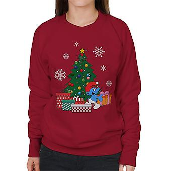 Smurf Around The Christmas Tree Women's Sweatshirt