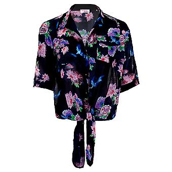 Ladies Open Shoulder Collared Chiffon Shirt Women's Tie Front Printed Blouse