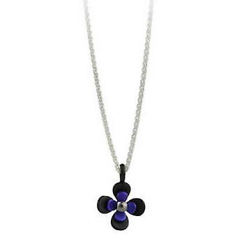 Ti2 Titanium Black zurück vier Petal Flower Anhänger - Imperial Purple