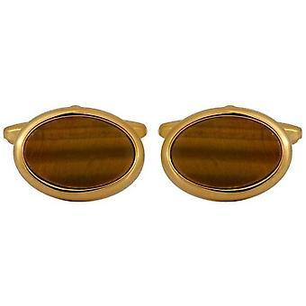 Banhado a ouro de David Van Hagen Tigerseye Oval abotoaduras - marrom/ouro