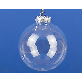 Single 100mm Clear Plastic Fillable Christmas Bauble - Glass Looking Glastic