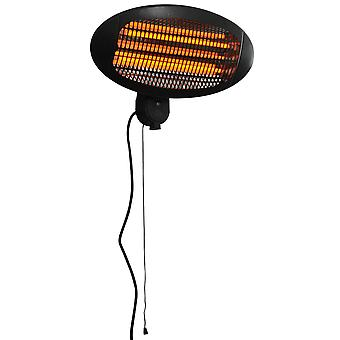Outsunny Wall Mount Electric Infrared Patio Heater Warmer Aluminium Easy to Operate Adjustable Indoor Outdoor 3 Power Setting 2kW Black