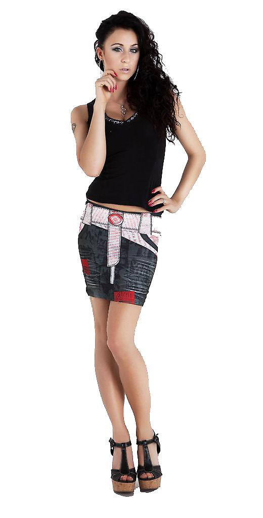 Waooh - Fashion - Short Skirt denim pattern with printed belt