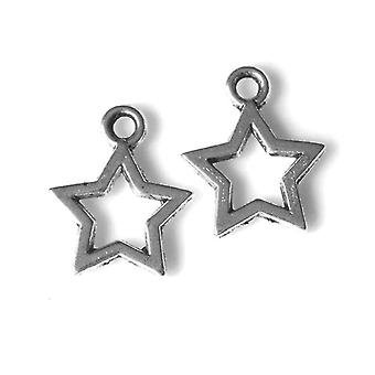 Paquete de 100 antiguos plata tibetana 10mm encanto/colgante estrella HA08855