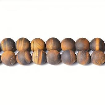 Strand 45+ Yellow/Brown Tiger Eye 8mm Frosted Plain Round Beads CB31600-3