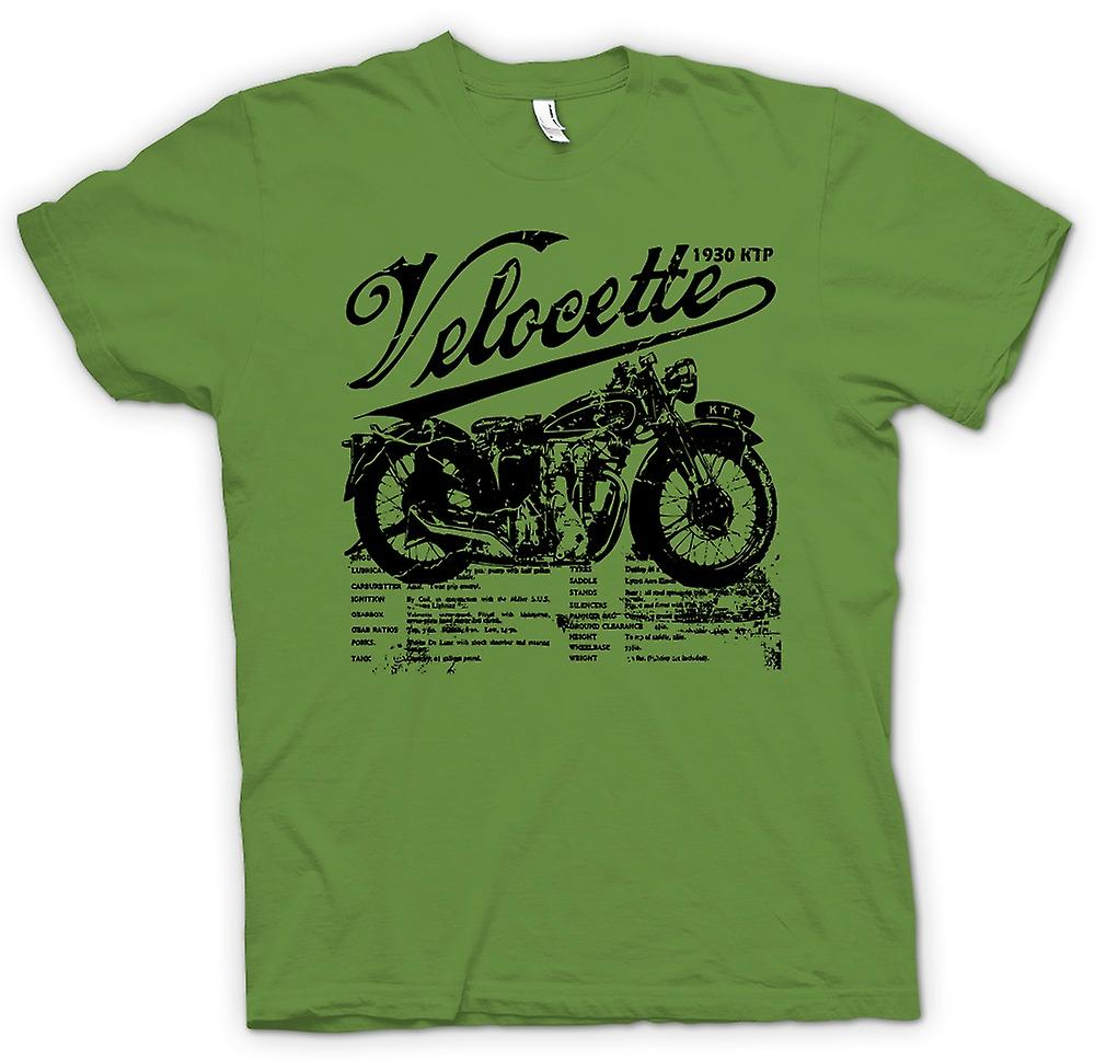 Heren T-shirt - Velocette KTP 1930 - klassieke fiets